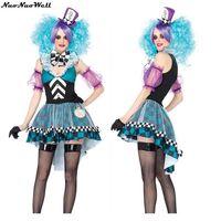 Лидер продаж Хэллоуин Карнавал Party волшебная фея платье для взрослых женские Косплэй форма в стране чудес ночной клуб горничной с ума hat