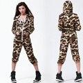 2016 New fashion Hip Hop Dance Costume performance wear European loose Camouflage harem jazz jumpsuit one piece Pants