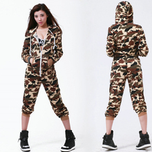 2016 New fashion Hip Hop Dance Costume performance wear European loose Camouflage harem jazz jumpsuit one piece Pants