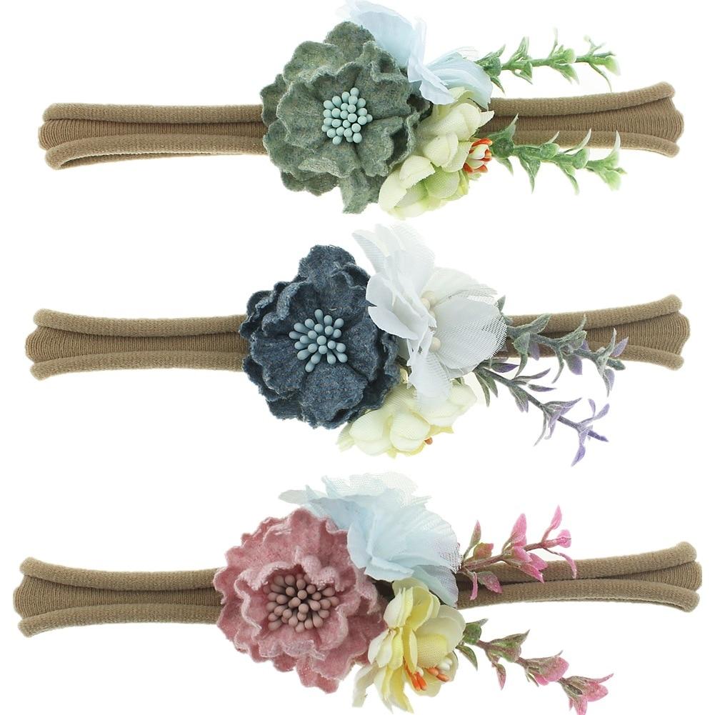 New 3pcs/lot Cute Fashion Flower Baby Nylon Headband Sets Newborn Girls Photography Props Birthday Gifts