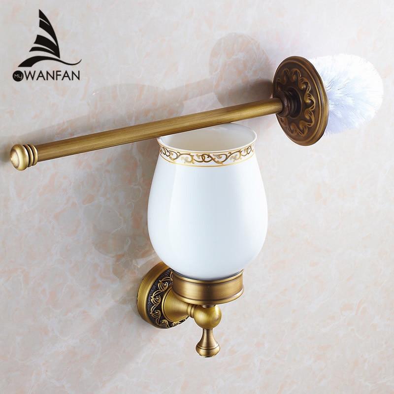 Toilet Brush Holders Antique Bronze Solid Brass Toilet Bowl Brush Clean Ceramic Bathroom Accessories WC Borstel