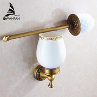 Free Shipping 2014 New Arrival European Luxurious Bathroom Accessories Antique Bronze Toilet Brush Holder Bath Products