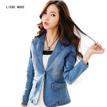 cd162fadb8e 2019 Spring Autumn Jacket Coat Womens Short Designer Denim Blazer Women  Slim Fit Blazer Jeans Feminino
