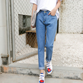 2017 Spring Autumn women preppy style Full Length Trousers Ladies jeans straight loose slim casual for woman  denim pants