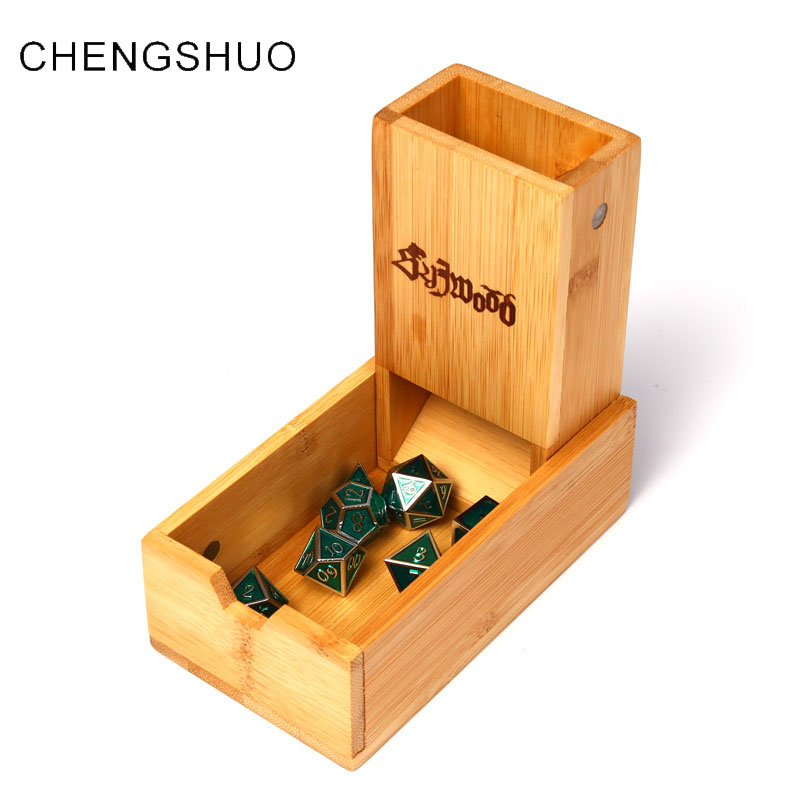 Chengshuo dnd dice tower wooden fold Bamboo Storage dices Magnet adsorption rpg dice tray 17cm dungeons