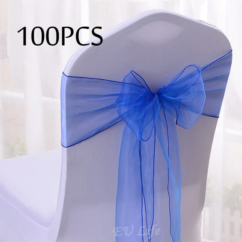 Sale 100PC Set Wedding Organza Chair Cover Bow Knot for Banquet Event Birthday Party Decoration Organza