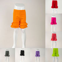 2015 New design Fashion boutique children baby toddler infant girls summer knit cotton short pant cheap kids ruffle shorts