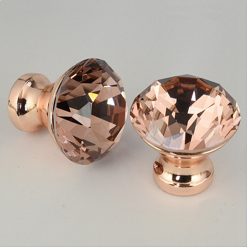 1pcs 30mm Unique Color K9 Crystal Diamond Knobs Rose Gold Cabinet Drawer Door Knob Furniture Supplies 30pcs furniture fittings k9 clear crystal glass cabinet drawer knobs door handle diameter 30mm