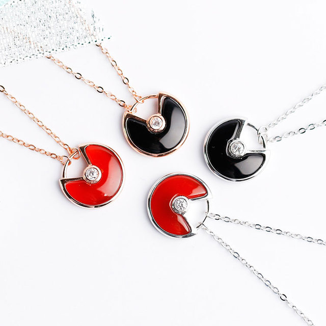 Silverwill high end red black Agate talisman pendant necklace