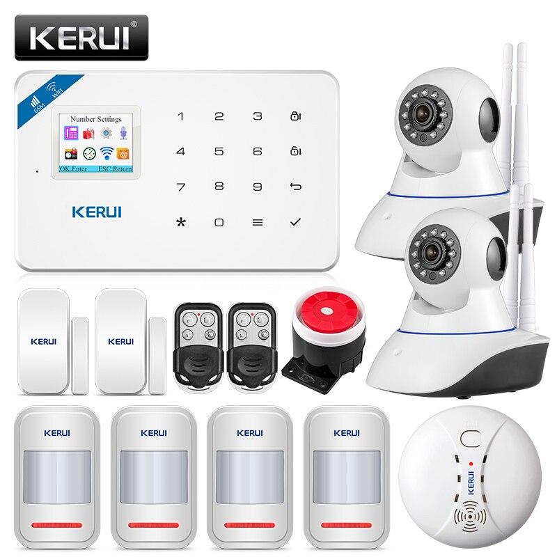KERUI W18 433 МГц 4 языковая система охранной сигнализации Беспроводная 1.7 дюймовая IOS/Android APP контроль Wifi GSM домашняя охранная сигнализация костюм...