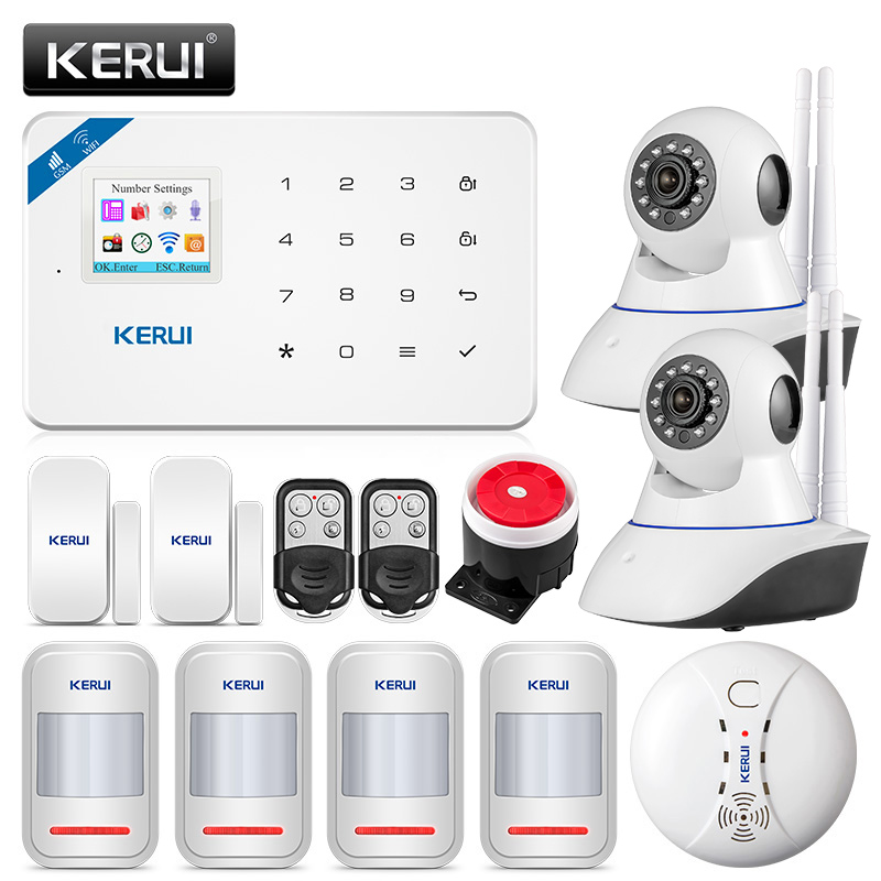 KERUI W18 433MHz 4 Language Security Alarm System Wireless 1.7 inch IOS/Android APP Control Wifi GSM Home Burglar Alarm Suits-in Alarm System Kits from Security & Protection