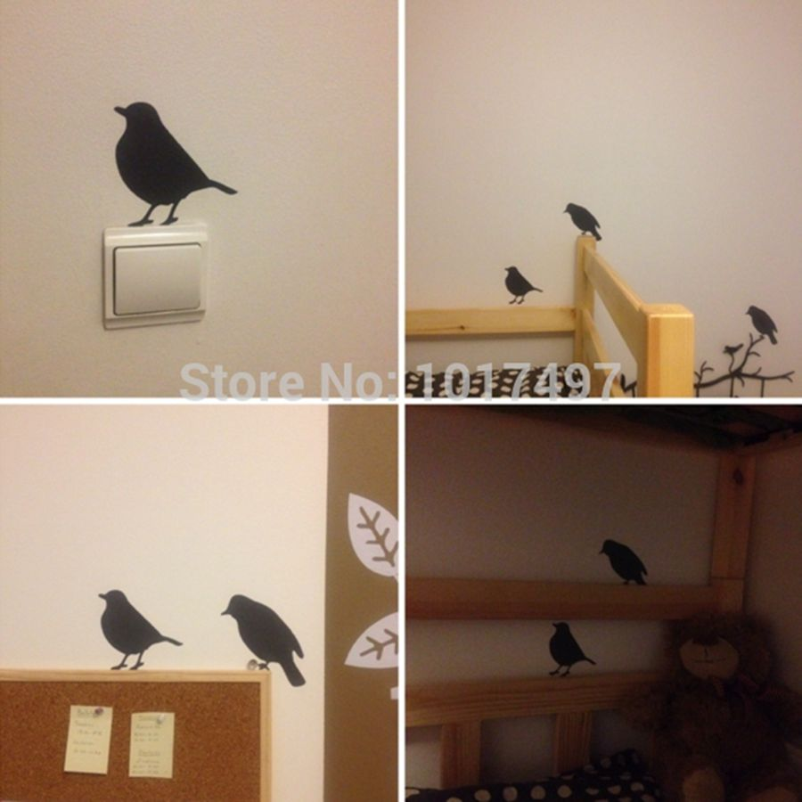Wall stickers modern home decor bird wall stickers one for Modern home decor pieces