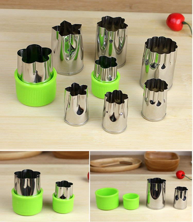 8pcs/Set Stainless Steel Puzzle Fruit Vegetable Cutter Kitchen Tools Mold Flower Shape Cookie Fondant Pastry Mould Accessories 15