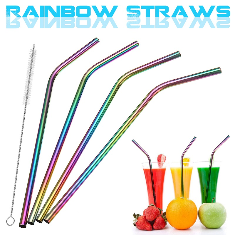 4pcs Colorful Stainless Steel Reusable Straws Suitable For Home And Restaurant 7