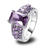 lingmei Free Ship Gorgeous Jewelry Unisex 9*11mm Emerald Cut Amethyst 925 Silver Ring Size 7 8 9 10 Love Style Gift Wholesale