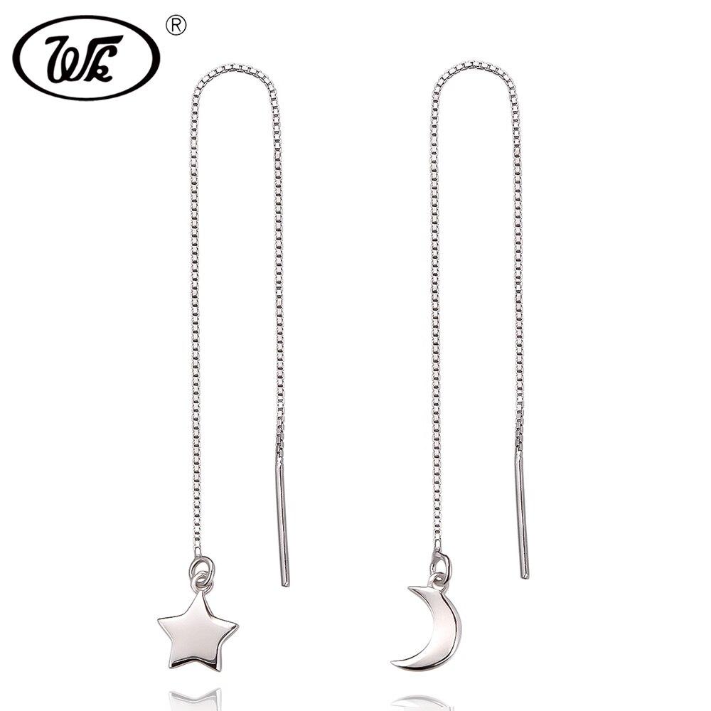 WK Trending 2018 925 Silver Moon Star Chain Earrings For Women Ladies Box Chain Long Ear Line Earring Jewelry Brincos W4 EB012