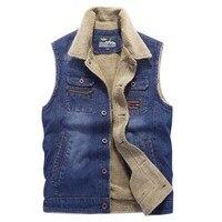 New Ticken Vest Men's Velvet Cowboy Vests Leisure Denim Vests Man Male Outerwear Coats Mens Tops XXXXL