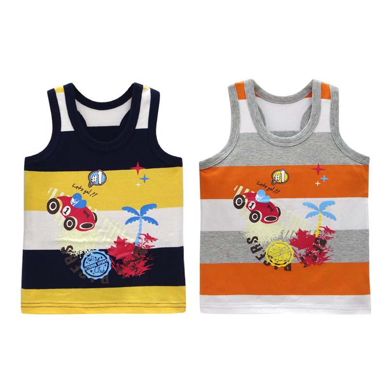 2019 New Arrival Boys Undershirts 2pcs/lot Cotton Summer Sleeveless T Shirt Fashion Girls Tees Baby Clothes Children Clothing