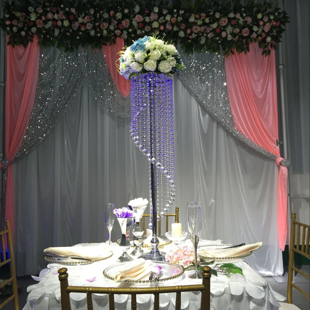 Rotating crystal beads hanging flower road lead wedding Centerpiece 90cm Tall 20cm Diameter S shape design