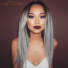 26″ Synthetic Ombre Grey Wig Long Straight Wig African American Wig For Black Women Heat Resistant Hair Cheap Cosplay Wig Peruca