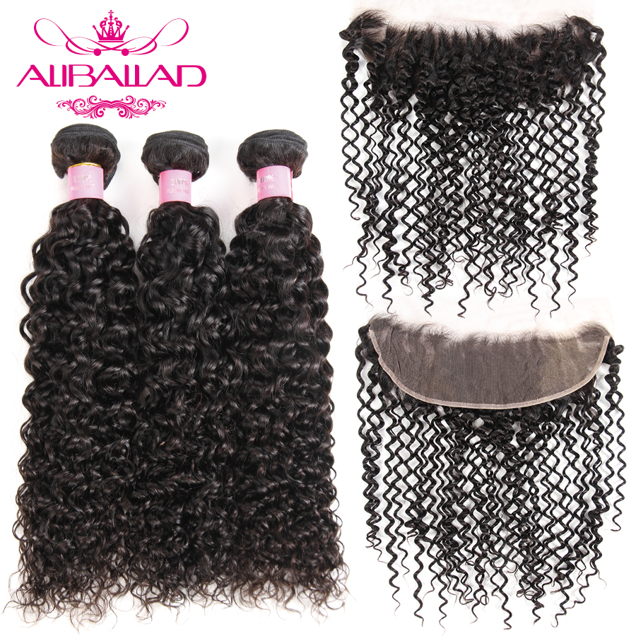 Aliballad Malaysian Kinky Curly Hair 3 Bundles With 13x4 Inch Lace Frontal Non Remy Human Hair