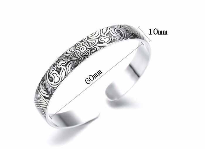 Lotus Thai Silver Bangle Bracelet - Jbr4*