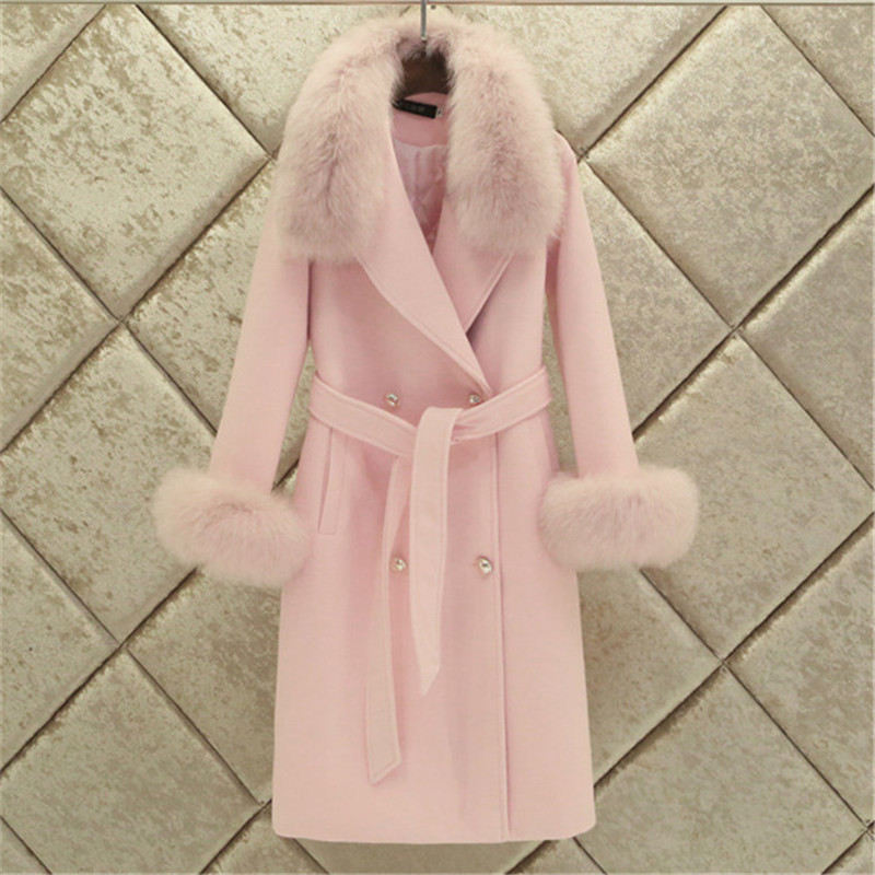 Fashion Women Woolen Coat 2019 Winter New Slim Solid Pocket Double-Breasted Big Fur Collar Thick Warm Woolen Coat Female Outwear