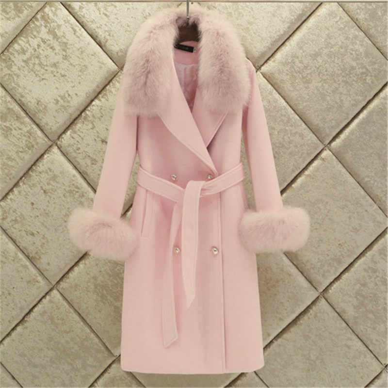 Fashion Women Woolen Coat 2019 Winter New Slim Solid Pocket Double-Breasted Big Fur Collar Thick Warm Woolen Coat Female Outwear
