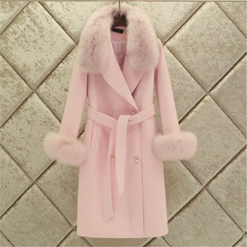 Женское двубортное пальто, модное, теплое, с карманами и большим меховым воротником