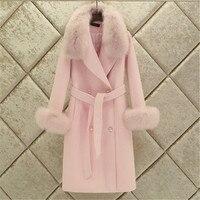 Fashion Women Woolen Coat 2019 Winter New Slim Solid Pocket Double Breasted Big Fur Collar Thick Warm Woolen Coat Female Outwear