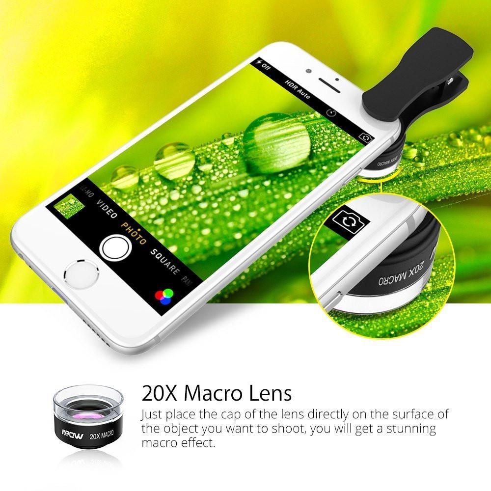Original Mpow MFE4 Clip-On Phone Camera Lens Kits 180 Degree Fisheye Lens + 0.36X Wide Angle + X Macro Lens for Cellphones 3