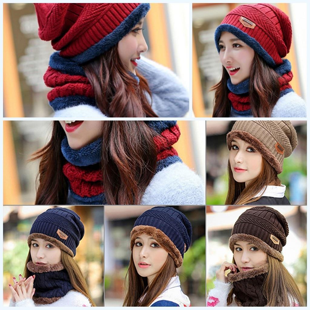 2019 New 1PC Cotton Blend Winter Hat Scarf Set Fashion Warm Knit Baggy Beanie Hat Ski Cap Scarf Hat Neckerchief Beanie For Women