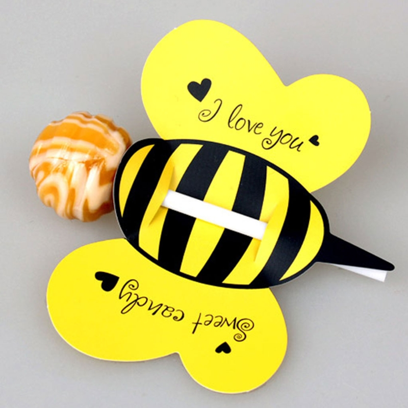 50pc Insect Candy Lollipop Card Kids Birthday Party Wedding Decor Candy Gifts
