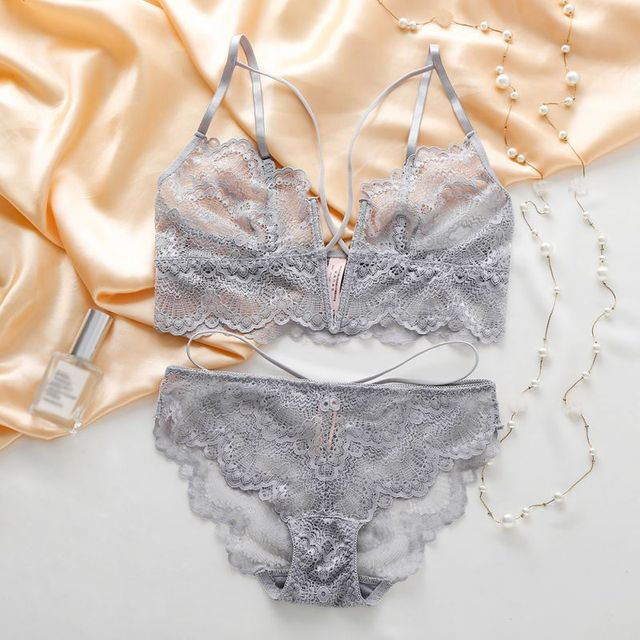 90492cd330423 EFINNY Sexy Lace Bra Set Women Lingerie Transparent Wireless Bra Bralette  Thin Mesh Panties Underwear Intimates