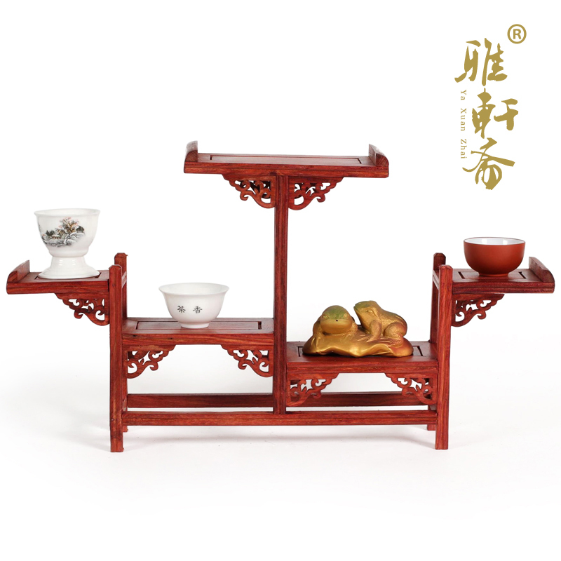 [red] TZ Zhai shelf mahogany carved ornaments teapot base frame table of exquisite workmanship