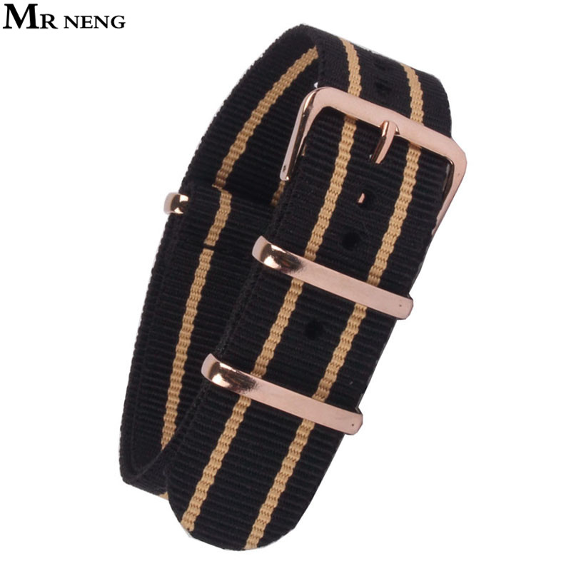 MR NENG Watch Band Rose Gold Buckle 18mm 20mm 22mm Black Beige Stripe belt Army Military Nato Fabric Nylon Watchbands Strap Band