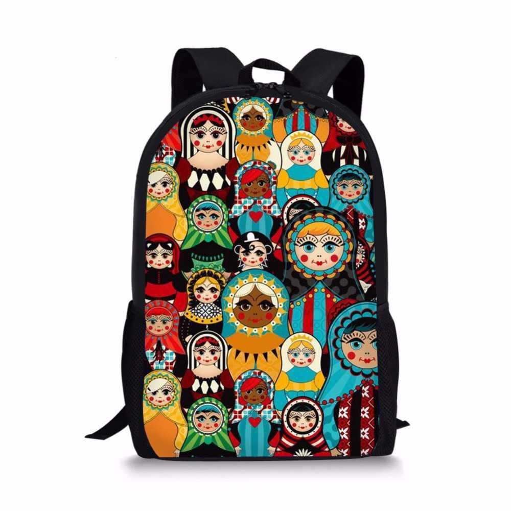 FORUDESIGNS tiki şık okul çantaları rus Matryoshka baskı Bookbag öğrenci sırt çantaları 3 adet setleri Mochila Escolar dropshipping