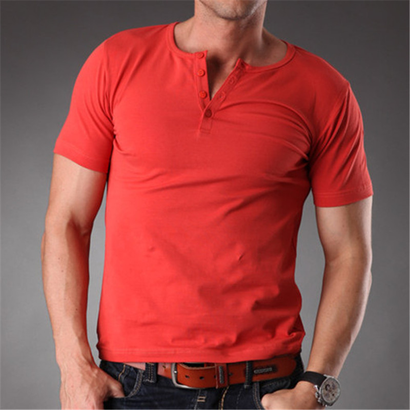 392d81e715d8 RL Plain Blank T Shirt Men 2019 Grey Stretchy Muscle Body Slim Fit Short  Sleeve Top With Buttons Down Summer Clothes Men MT 1355-in T-Shirts from  Men s ...
