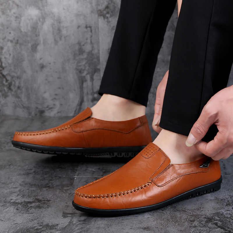 Nieuwe Man Casual Schoenen Echt Leer Mannen Mocassin Schoenen Mode Lederen Mannen Italiaanse Schoenen mannen Loafers Comfort Rijden Schoenen