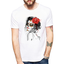 b7dc1d1bd Day Of The Dead Shirt Sugar Skull Girl With Rose Tattoo T Shirt Cool  Fashion Summer Clothes For Men Big Tall Size XXXL 2019