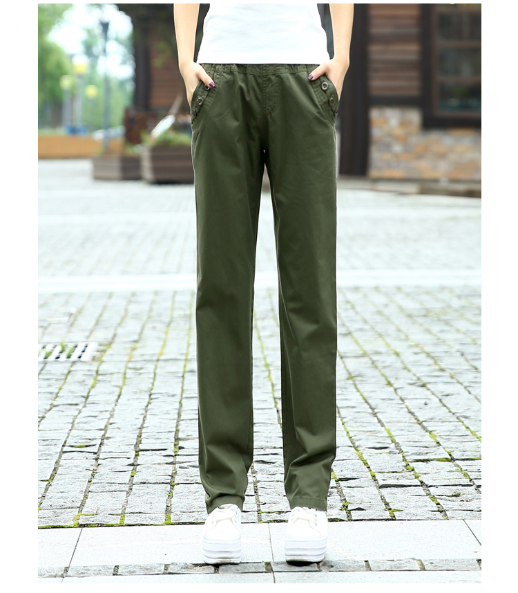 2017 Summer Elastic Waist Women's Army Green Cargo pants women Military Trousers Women Casual Loose Cargo Pants Girls