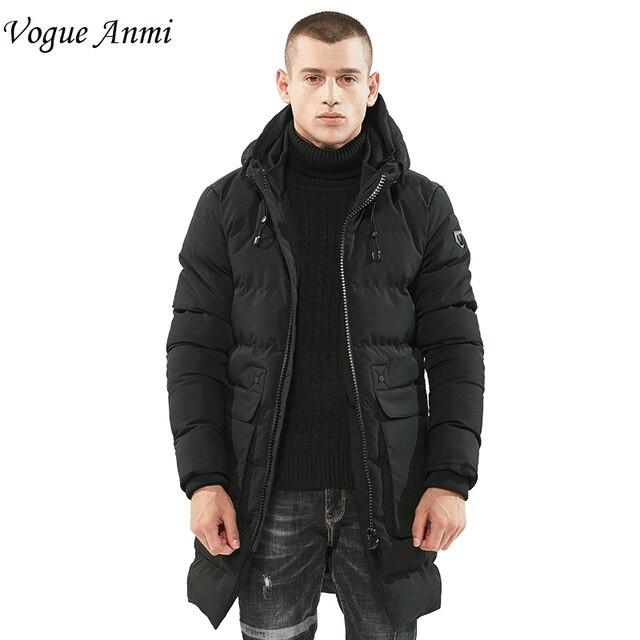 Winterjas Heren Zwart.Vogue Anmi Lange Winterjas Mannen Merk Kleding Mannelijke Dikke Jas