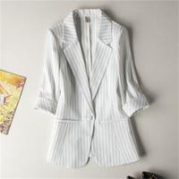Ms .Blazers female jacket Small suit female jacket women coat New high quality summer White stripe Professional suit size S 7XL