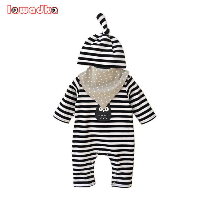 Newborn Baby Girl/Boy Ropa (Mamelucos + Sombreros + Baberos) Cumpleaños de Los Niños A Rayas Bebé Juegos de Ropa Infantil mono