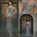 Gorgeous Evening Dress Long Vestido De Festa Cap Sleeve Arabia Evening Dresses Beaded Crystal Formal Evening Dress Mermaid Sexy