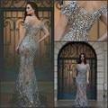 Gorgeous Evening Dress Long Vestido De Festa Cap Sleeve Arabia Evening Dresses Beaded Crystal Formal Evening Dress Mermaid Sexy