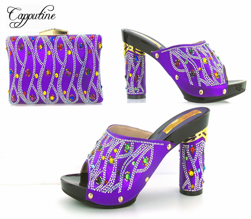 Capputine Hot Sale Summer Ladies Shoes And Bag Set African Style High Heels Shoes And Bag Set For Wedding Party TYS17-91 capputine new arrival fashion shoes and bag set high quality italian style woman high heels shoes and bags set for wedding party
