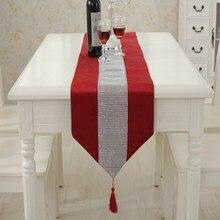 8 Colors Hot Diamante Table Runner Thick Velvet Chenille Satin Tasseled  Edge Table Decors Wedding Party