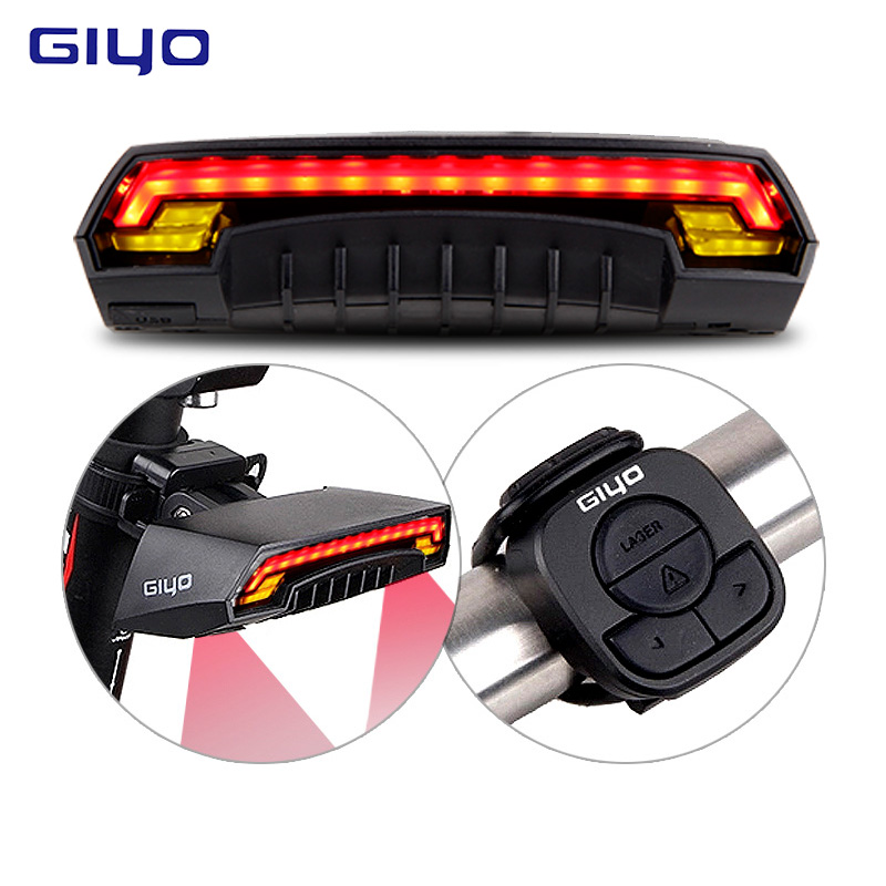 GIYO Laser Bike Taillight USB Rechargeable LED Cycling Rear Light Lamp 85 Lumen Mount Red Lantern