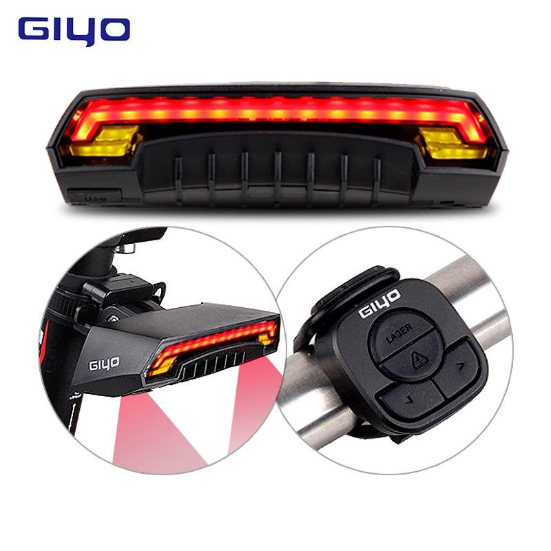 GIYO Laser Fahrrad Rücklicht USB Aufladbare LED Radfahren Hinten Licht Lampe 85 Lumen Montieren Rote Laterne Für Fahrrad Licht Zubehör